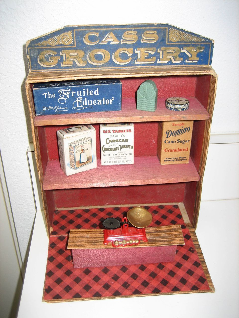 Antique CASS Grocery counter with shelves lithographed store