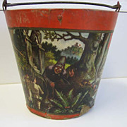 Antique Paper litho German cardboard Nursery Rhyme bucket pail Snow White, Hansel & Gretel, Red Riding Hood
