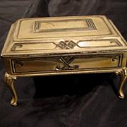Antique toy miniature furniture gilt cast metal  decorative table