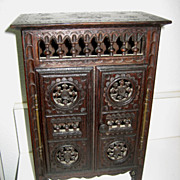 French Breton Brittany antique small doll furniture  armoire