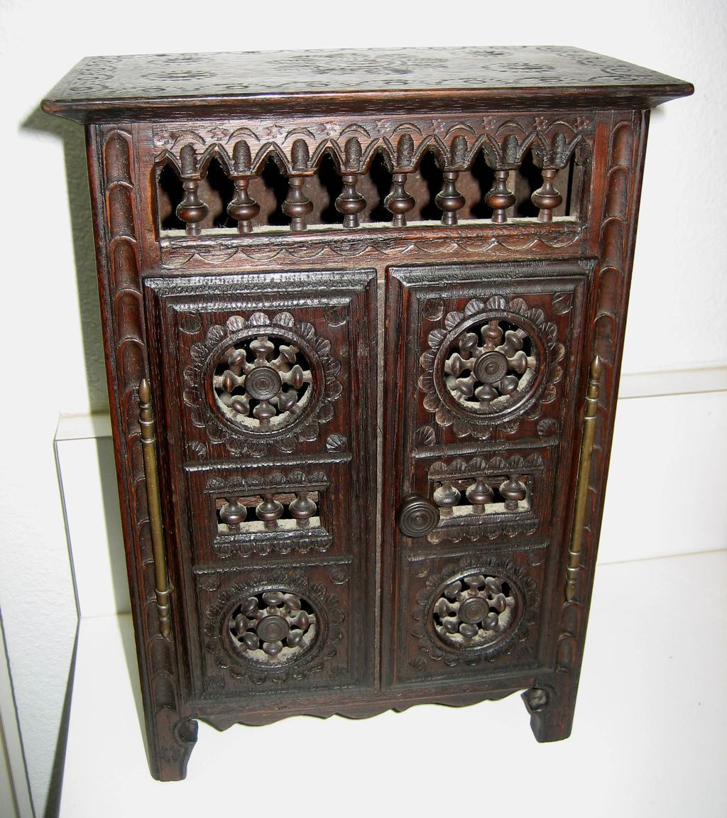 French Breton Brittany antique small doll furniture armoire : Sondra  Krueger Antiques | Ruby Lane - French Breton Brittany Antique Small Doll Furniture Armoire : Sondra
