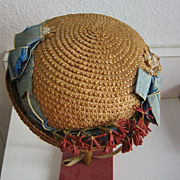 Antique doll Large straw hat