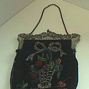Ladies Black velvet antique beaded bag purse