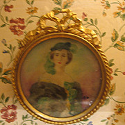 Antique German doll house miniature picture Ormolu decorative frame