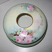 Antique French Porcelain handpainted hair receiver & powder jar