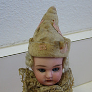 Antique French doll bisque head Christmas ornament
