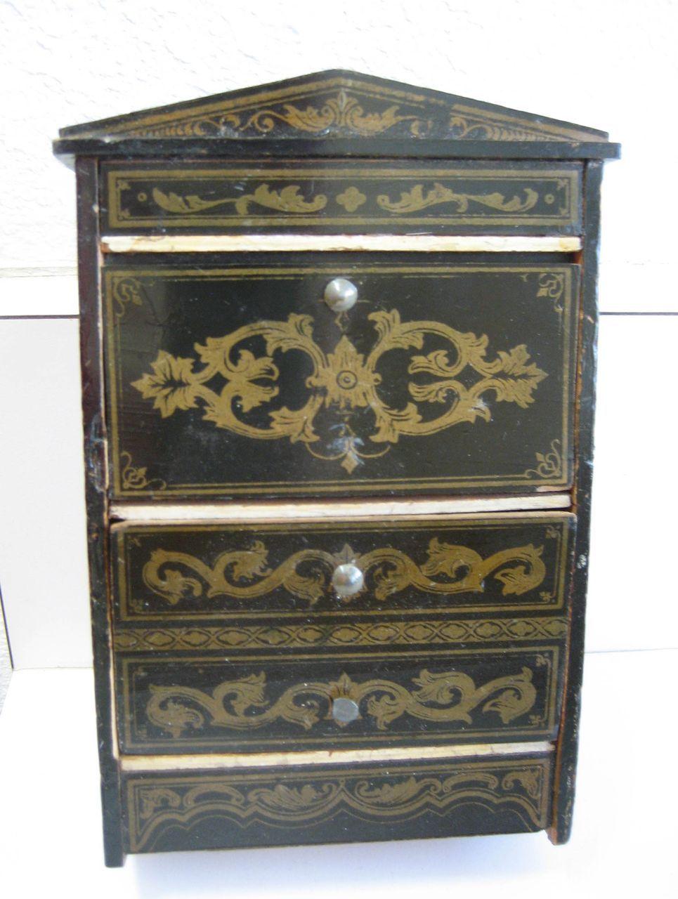 german black boule antique dollhouse furniture drop front