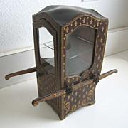 French antique doll small sedan chair vitrine Vernis Martin style