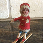 German Antique Christmas Heubach child cotton miniature bisque figure ornament