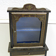 Antique miniature German Boule Biedermeier furniture cabinet