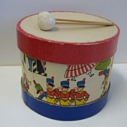 Antique paper litho drum candy container