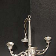 Antique doll house miniature pewter large Chandelier c1890