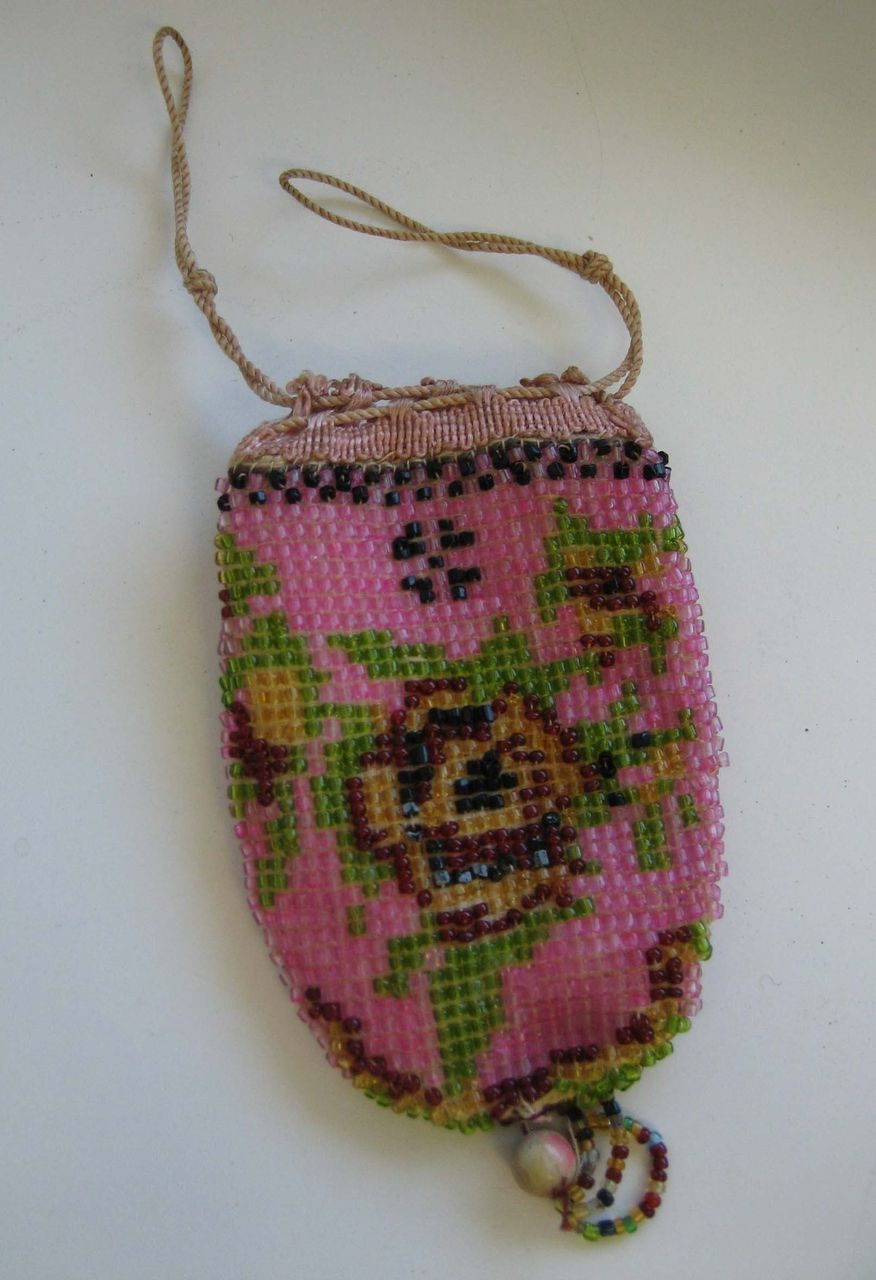 antique doll or small purse pink beaded from