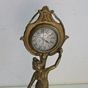 Antique German Miniature Doll House Gilt metal Art Nouveau clock