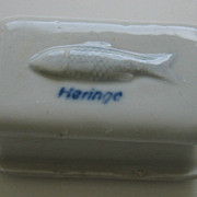 Antique German kitchen store porcelain miniature Herring box