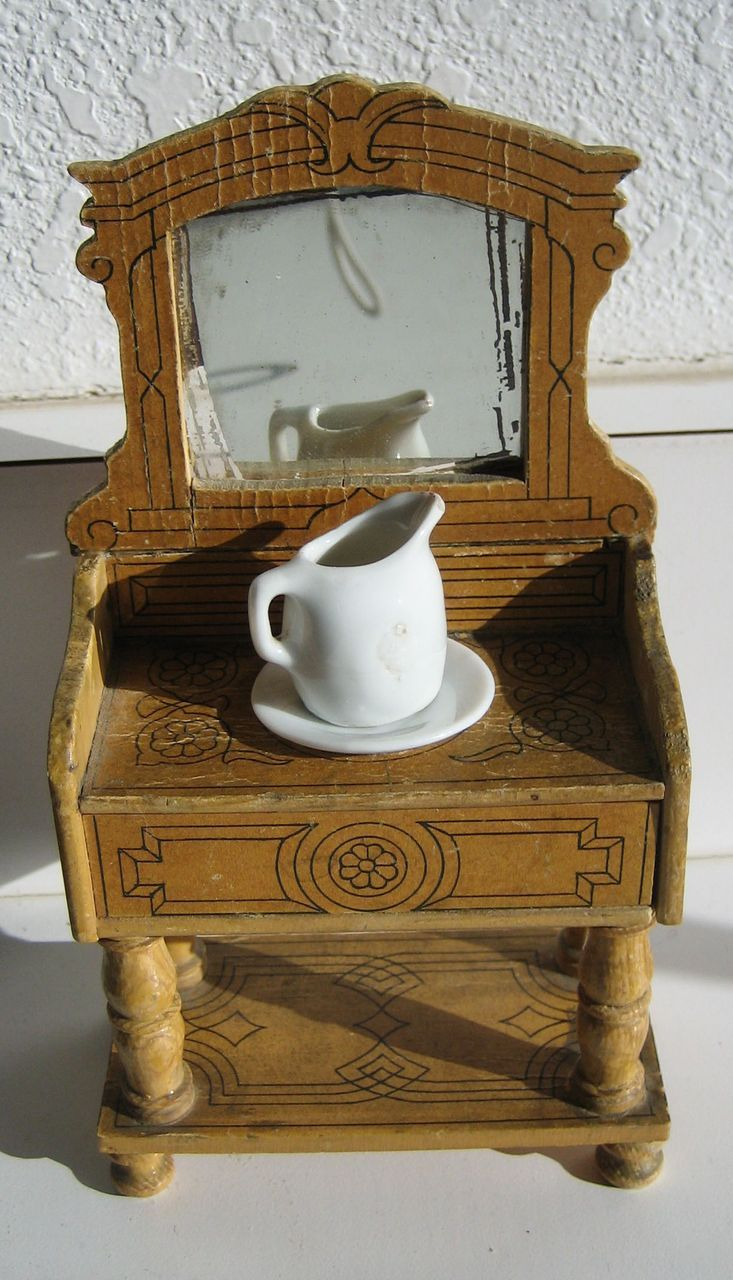 Antique German Miniature Furniture Paper Litho Washstand