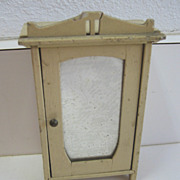 Antique German miniature doll house white furniture mirrored armoire