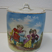 Antique German rare child's biscuit jar children scene