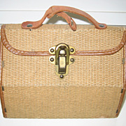 Antique woven small doll French suitcase