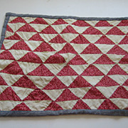 Antique child's doll quilt watermelon reds triangles