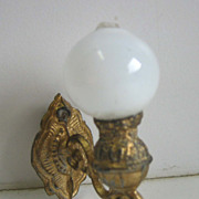 Antique German Miniature Doll House Gilt pewter wall sconce lamp small