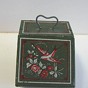 Green tin antique miniature dollhouse bird decorated fireplace Scuttle