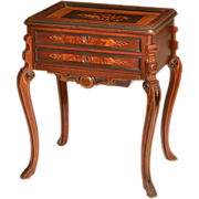 Marquetry Inlaid Walnut Sewing Stand in Renaissance Revival Victorian Style
