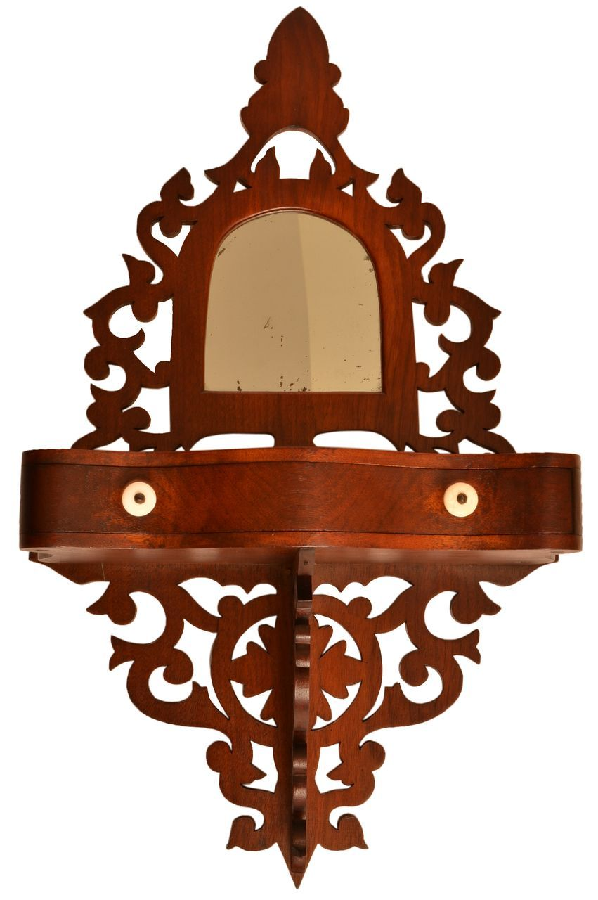 Walnut Victorian Hanging Open Carved Wall Shelf