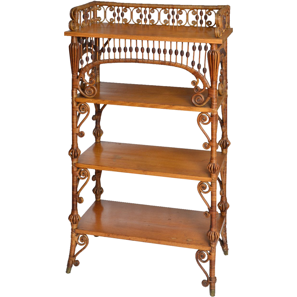 wakefield rattan company natural finish wicker etagere from souhantq on ruby lane. Black Bedroom Furniture Sets. Home Design Ideas