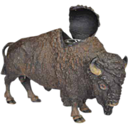 Cold Painted Buffalo Inkwell With Glass Insert