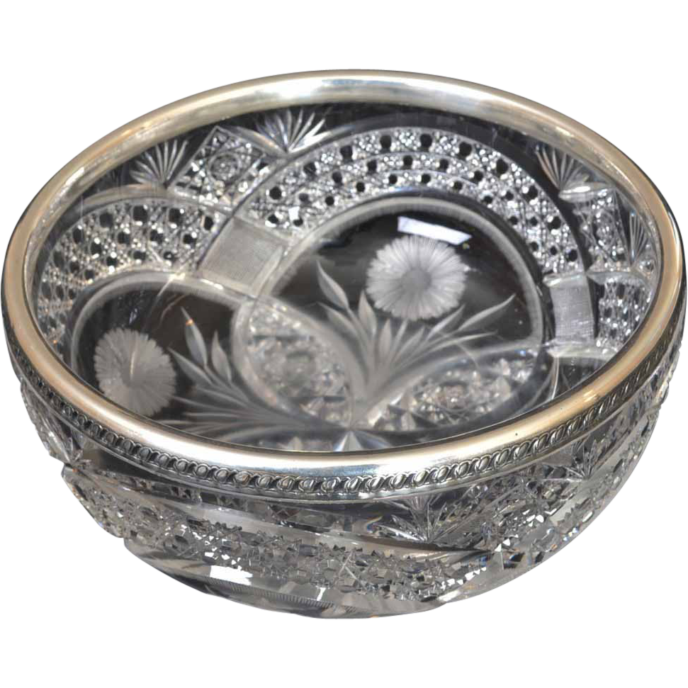 Gorham Sterling Rimmed Brilliant Cut Glass Bowl
