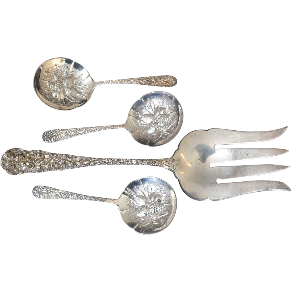 S. Kerk & Son Sterling Repousse Serving Pieces