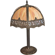 Panel Lamp with six caramel curved glass sides