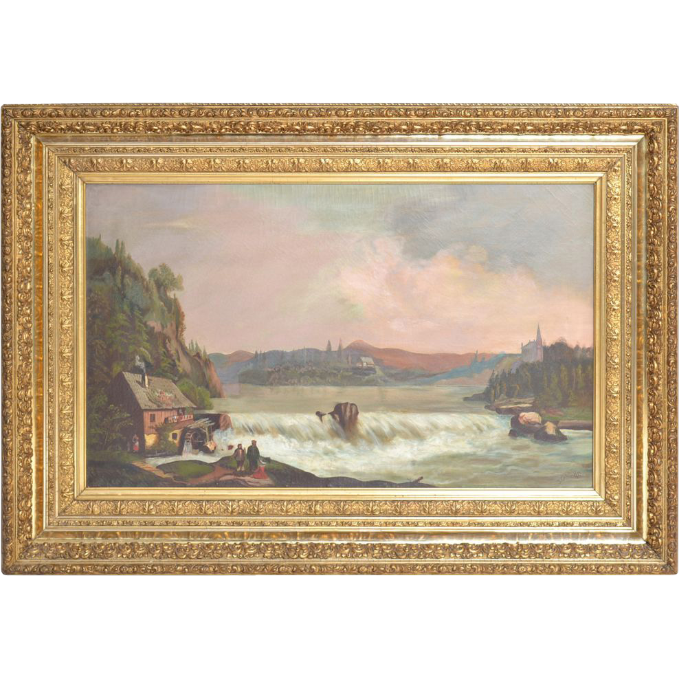 J Glen scenic Victorian oil painting in gilt frame dated 1890