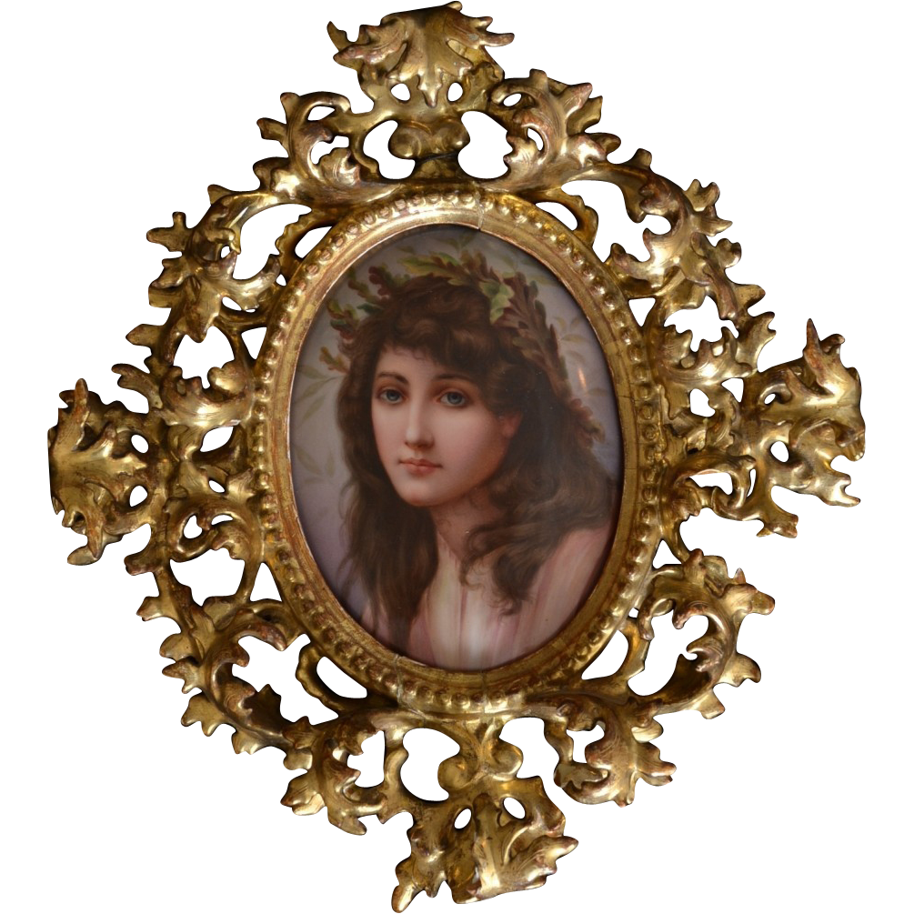 Victorian Portrait painting on porcelain of woman in gilt frame