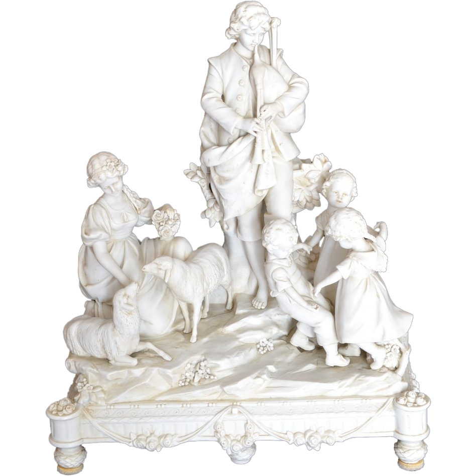 Parian Grouping with musicians, children, 2 lambs and flowers.