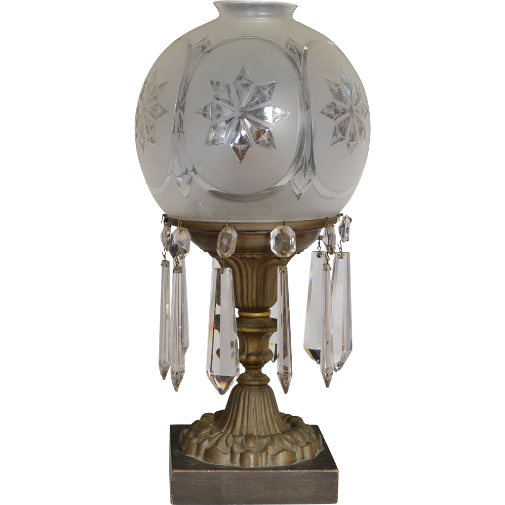 Plume and Atwood astral lamp with cut glass shade