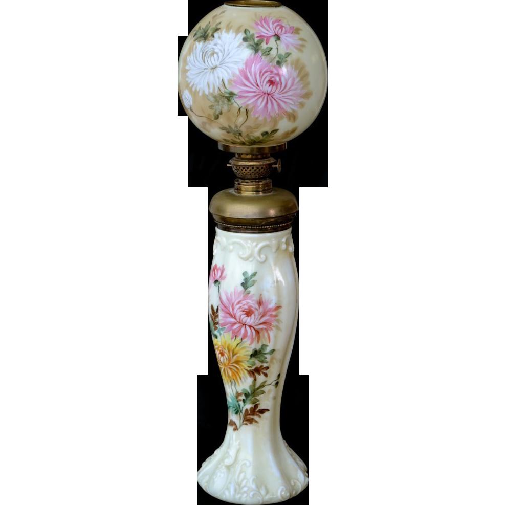 Signed P. J.  Handel all original small size kerosene banquet lamp