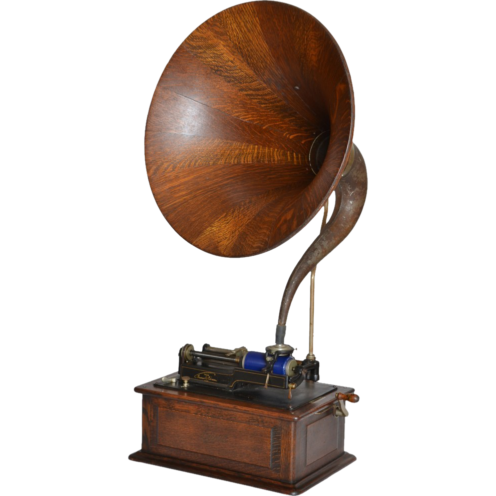 Edison Triumph model phonograph with quartered oak ribbed horn