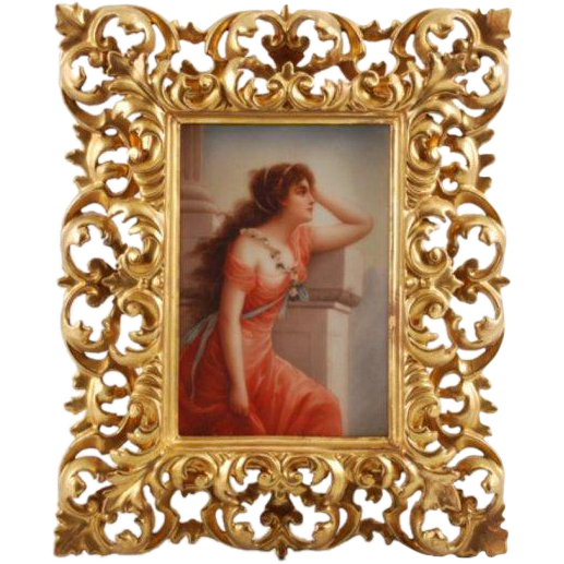 "Victorian painting on porcelain of a lady titled ""Waiting"""