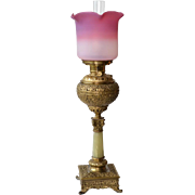 Victorian banquet lamp with Peach blow art glass shade