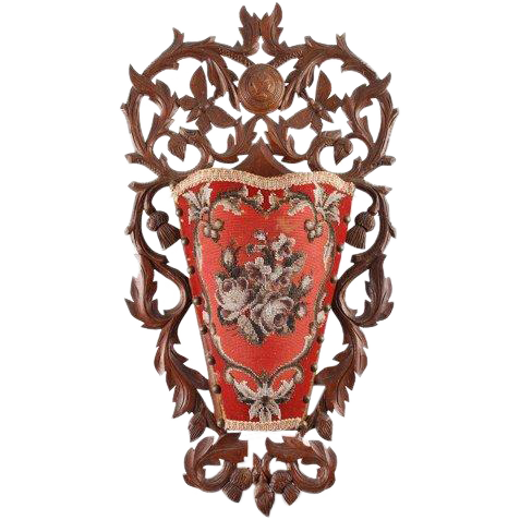 Carved Victorian wall pocket with beaded floral design