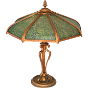 Large reverse painted panel lamp attributed to the Pittsburgh Lamp Company.