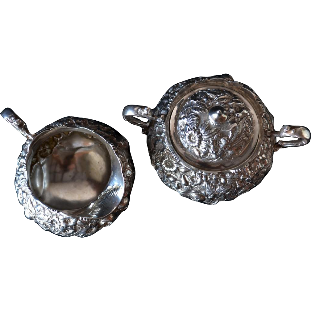 Hennegan Bates, Baltimore repousse sterling silver sugar and creamer