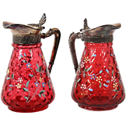 James W, Tufts Victorian cranberry glass pair of syrup jugs
