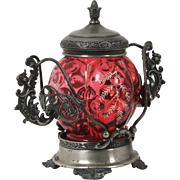 Warren Silver Plate Company Victorian silver plated sugar bowl with enamel decoration and gargoyle handles