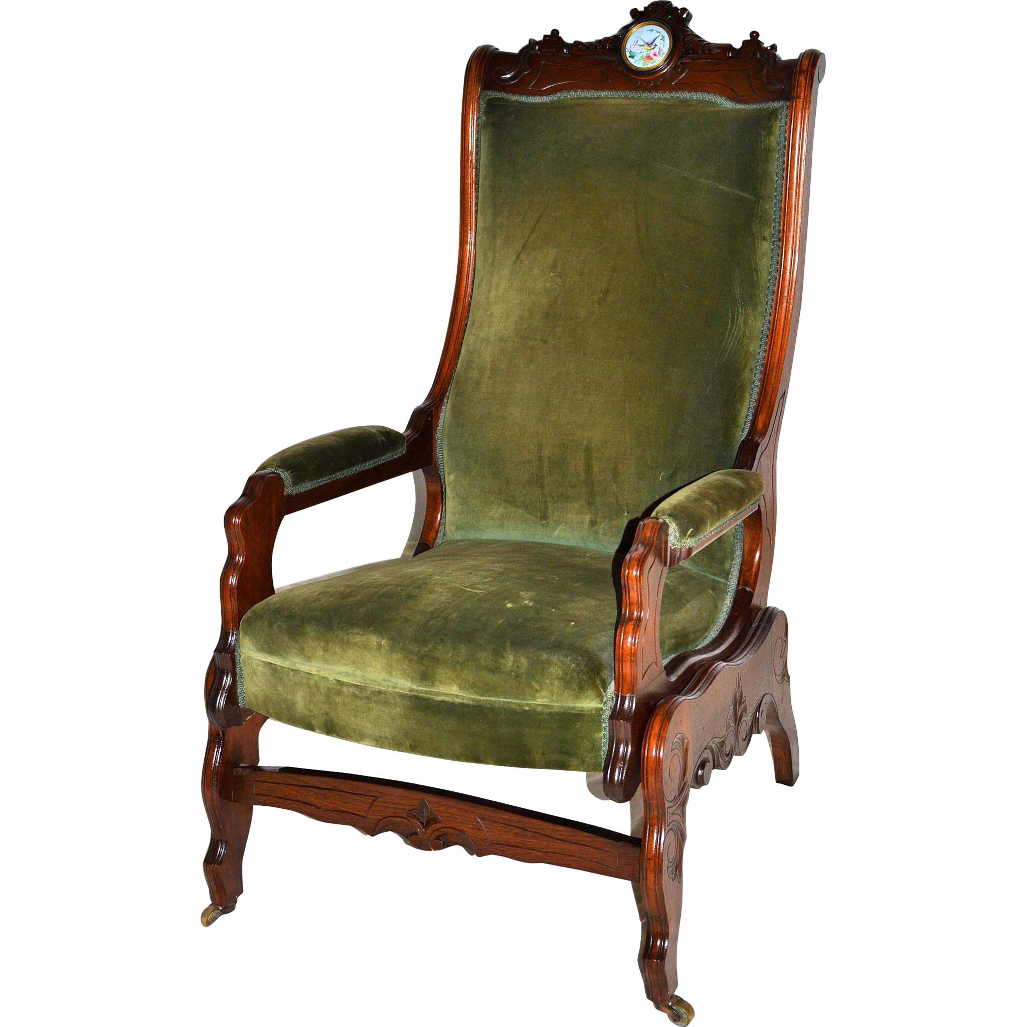 Victorian walnut platform rocker with Sevres plaque