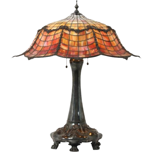 Gorham leaded glass table lamp with floral wreath garland shade and fancy claw feet