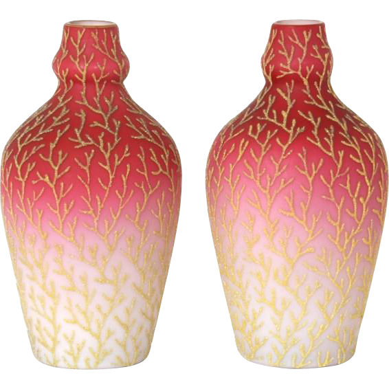 Mount Washington coralene pair of glass vases