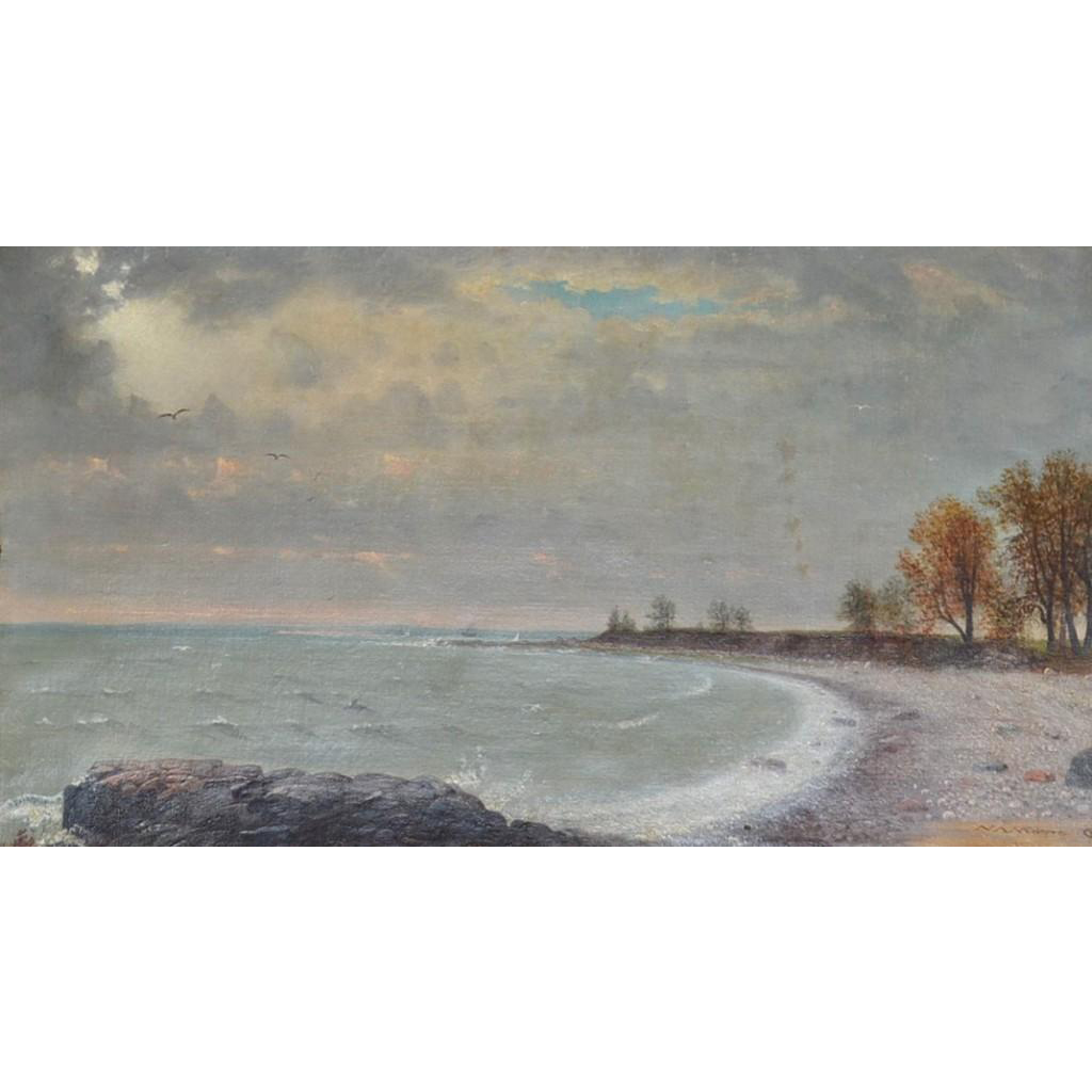 Nelson Augustus Moore oil painting of a seascape dated 1876
